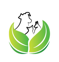 Dog and cat environment friendly icon vector
