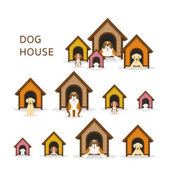 Dogs in doghouse or kennel vector