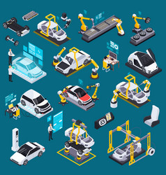 Electric vehicle production isometric set vector