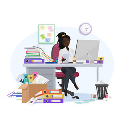Exhausted overwhelmed work african american vector