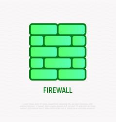 firewall thin line icon brick wall vector image