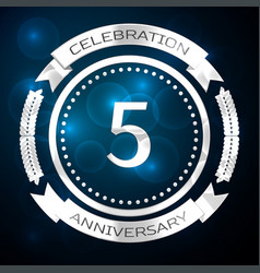 Five years anniversary celebration with silver vector