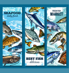 fresh seafood and fish market sketch banner set vector image