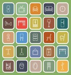 Furniture line flat icons on green background vector image