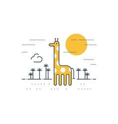 Giraffe outdoor simple cartoon vector image