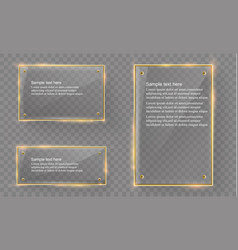Glass modern banner set with shiny golden vector