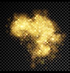 gold glitter cloud burst shining sparkles vector image