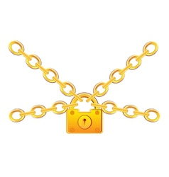 Gold lock in chain vector
