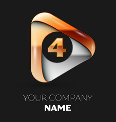 Golden number four logo in golden-silver triangle vector
