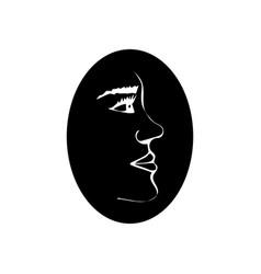 Human head silhouette face profile view elegant vector