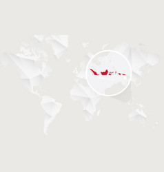 Indonesia map with flag in contour on white vector