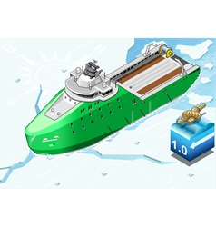 Isometric Icebreaker Ship Breaking the Ice in vector image