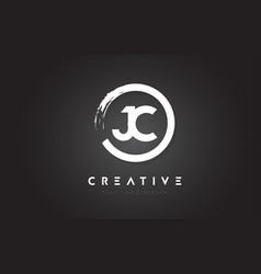 Jc circular letter logo with circle brush design vector