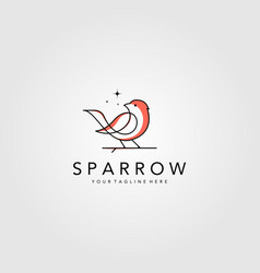 Line art sparrow bird logo design minimalist bird vector