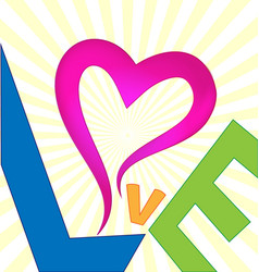 love abstract text background vector image