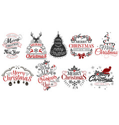 Merry christmas and happy new year logo set vector