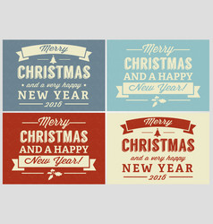 merry christmas retro label set vector image