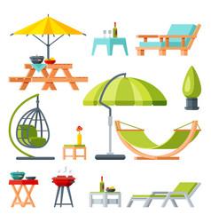 Modern garden furniture collection table vector