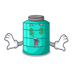 Money eye cartoon water tank for in agriculture vector