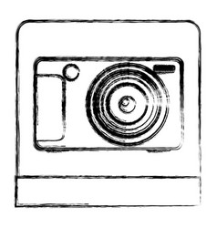 Monochrome sketch of digital photo camera in vector