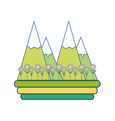 Natural snowy mountain with ecology flowers vector