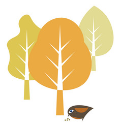 nature with bird and leaf element hand drawn vector image