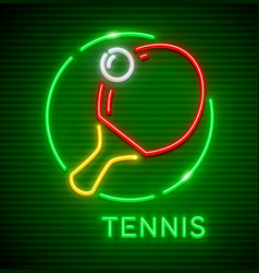 neon icon table tennis vector image
