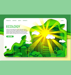 paper cut ecology landing page website vector image