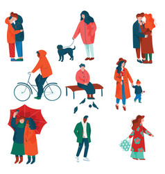 people dressed in seasonal clothes set men and vector image