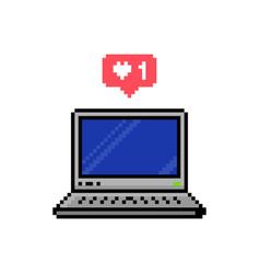Pixel style social media like speech bubble vector