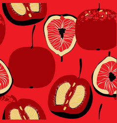 Plum apple and fig seamless pattern over bright vector
