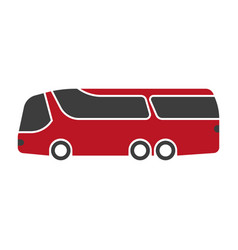 Red shuttle bus with black windshield art isolated vector