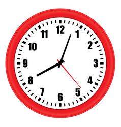 Red wall clock over white vector
