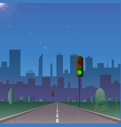 road to the city with traffic lights sunny day vector image