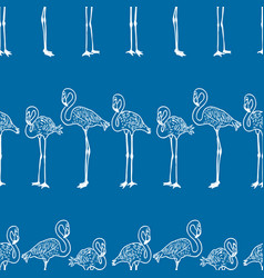 seamless background standing cartoon flamingos vector image