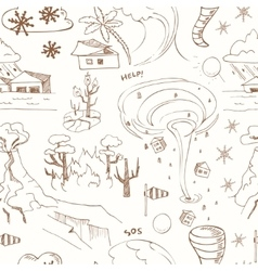 Seamless pattern with doodle sketch Natural vector