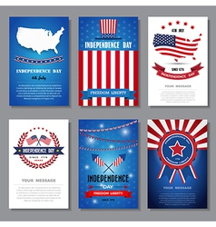 Set greeting card independent day background vector
