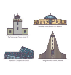 set iceland architecture landmarks in thin line vector image
