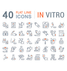 Set line icons in vitro vector