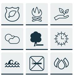 Set of 9 ecology icons includes bonfire sun vector