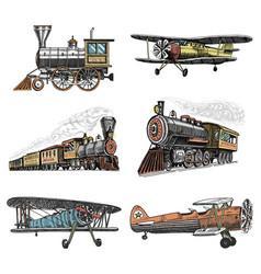 set of passenger train and airplanes corncob vector image