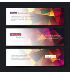 set of three colorful triangles banners vector image