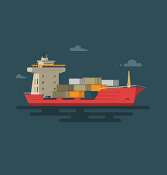 Ship container in the ocean transportation vector