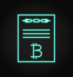 Smart contract icon in neon line style vector