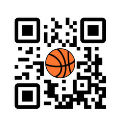 smartphone readable qr code play basketball vector image