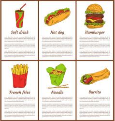 soft drink and noodles set vector image