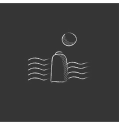 Solar energy and hydropower Drawn in chalk icon vector