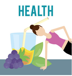 Sporting woman grapes juice nutrition health food vector
