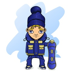 Teen athlete snowboarder in sportswear holding a vector
