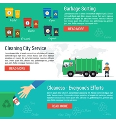 Three horizontal banners - cleaning city service vector